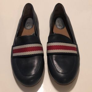 B.O.C. Navy Leather Loafer w/ Red & White Fabric